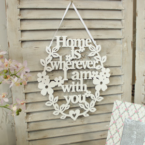 "Vintage ""Home Is Wherever I Am With You"" Hanging Plaque"