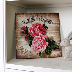 Vintage Pink Rose Metal Wall Plaque