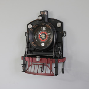 Vintage Railway Steam Train Wall Clock with Hooks