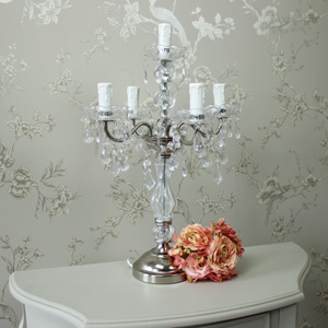 Vintage Silver Candelabra Style Table Lamp