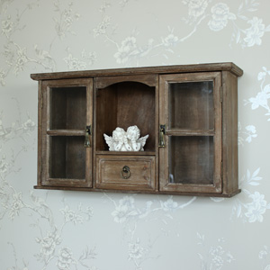 Vintage Style Glazed Wall Storage Cupboard Unit