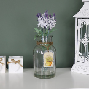 Vintage White Lavender Arrangement in Glass Jar