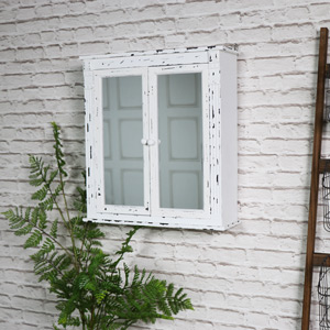Vintage White Mirrored Bathroom Wall Cabinet