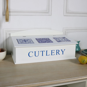 Vintage Wooden Cutlery Storage Box