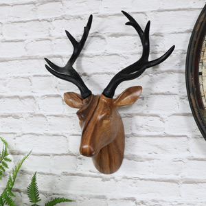 Wall Mounted Brown Stag Head