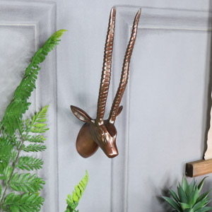 Wall Mounted Copper Antelope Head