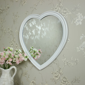 Wall Mounted Large White Heart Wall Mirror