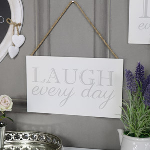 """Wall Mounted Plaque """"Laugh Every Day"""""""