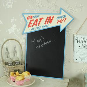 Wall Mounted Retro 'Eat In' Arrow Chalkboard