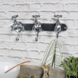 Wall Mounted Silver Tap Triple Coat Hooks