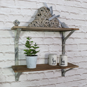 Wall Mounted Wooden Double Shelving Unit