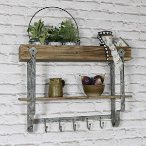 Wall Mounted Wooden Wall Shelf with 5 Hooks