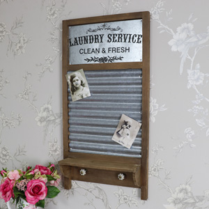 Washboard Shelf Magnetic Memo Board / Wall Shelf With Hooks