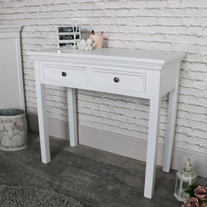 White 2 Drawer Console/Dressing Table - Daventry White Range