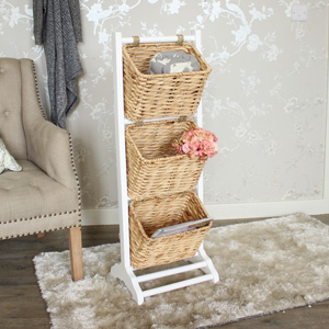 White 3 Tier Wicker Storage Rack