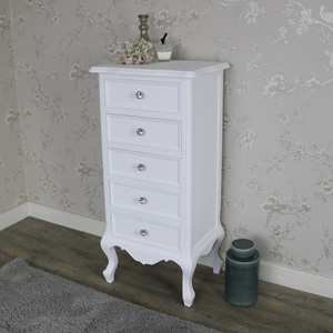 White 5 Drawer Tallboy Chest of Drawers - Elise White Range
