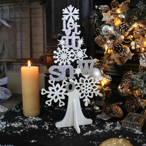 White and Silver Glitter 'Let it Snow' Christmas Tree