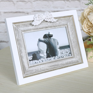 White Angel Wings 6x4 Photograph Frame