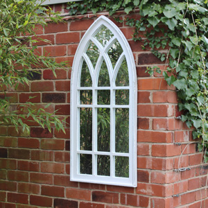 White Arched Window Mirror
