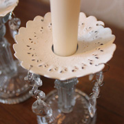 White Candle Arm Decoration with Glass Droppers