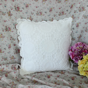 White Crochet Cushion