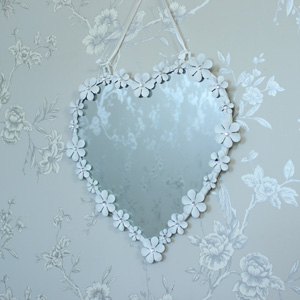 White Daisy Heart Mirror