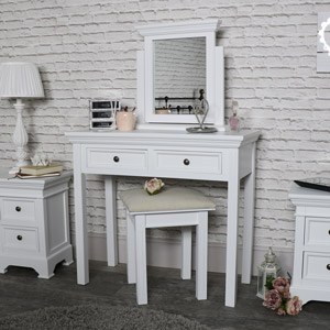 White Dressing Table, Mirror and Stool Set - Daventry White Range