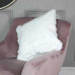 White Faux Fur Scatter Cushion