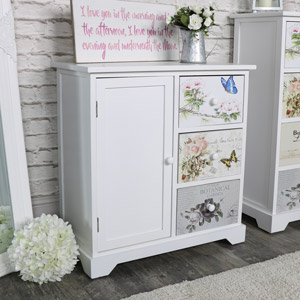 White Floral Butterfly 3 Drawer Cupboard Unit - Mariposa Range