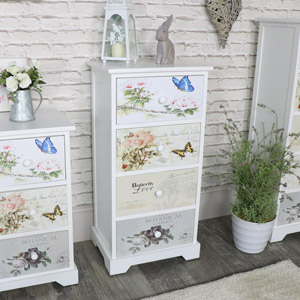 White Floral Butterfly 4 Drawer Tallboy Chest - Mariposa Range