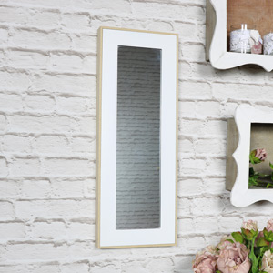 White Framed Wooden Wall Mirror 56cm x 21cm
