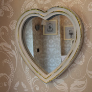 White and Gold Heart Mirror