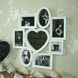 White Heart Mirror Multi Photograph Frame