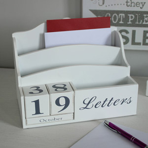White Letter Rack and Perpetual Calendar