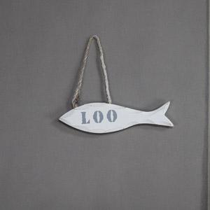 White 'Loo' Fish Door Sign