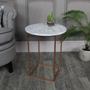 White Marble Topped Side Table