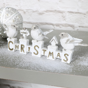 White Merry Christmas Sign With Robins