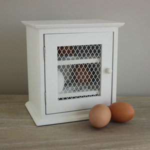 White Mesh Fronted Egg Cabinet
