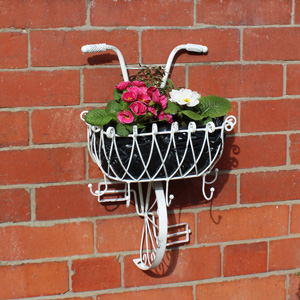 White Metal Bicycle Basket Wall Planter