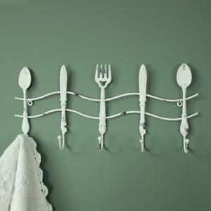 White Metal Kitchen Cutlery Wall Hooks
