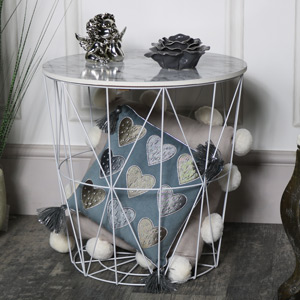 White Metal Marble Effect Topped Side Table