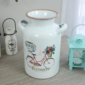 White Metal Milk Churn with Handles