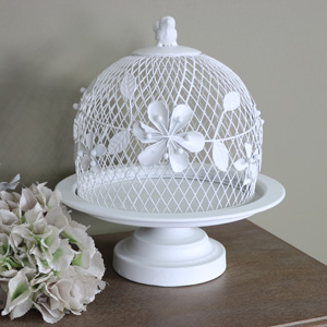 White Metal Vintage Cake Stand with Wire Dome Cover