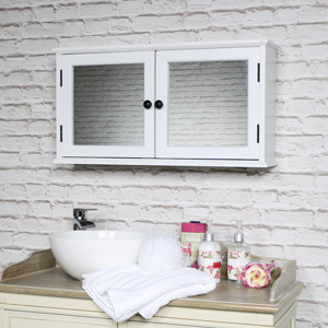 White Mirrored Bathroom Cabinet with Storage