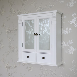 White Mirrored Cupboard with Drawers