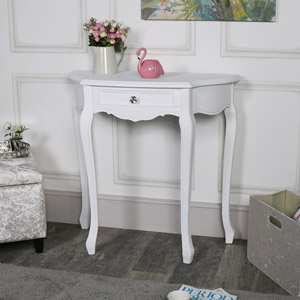White One Drawer Half Moon Console Table – Elise White Range