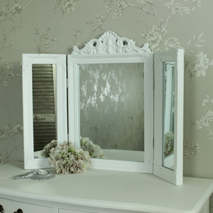 White Ornate Dressing Table Triple Mirror
