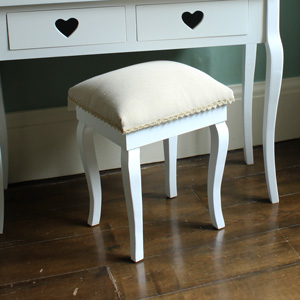 White Padded Dressing Table Stool