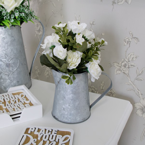White Rose Bouquet in Grey Metal Jug