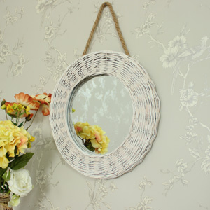 Round White Wicker Wall Mirror